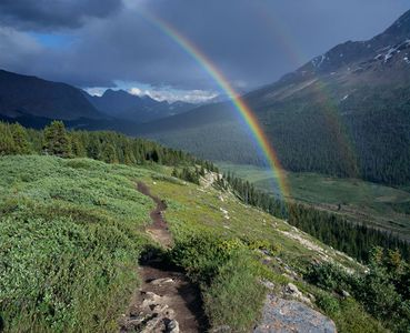 Wilcox Pass Trail and Rainbow, Rocky Mountains, Jasper National Park, Alberta, Canada