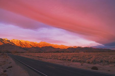 Sunrise, Sierra Wave Cloud Over The East Side Of The Sierra Nevada And Lone Pine, California copyright 2014 David Leland Hyde.