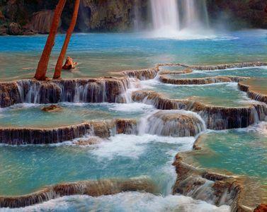 Base Of Havasu Falls, Havasupai Indian Reservation, Grand Canyon, Arizona