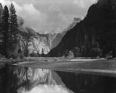 Merced River, Half Dome In Clouds, Washington Column, Yosemite Valley, Yosemite National Park, Sierra Nevada, California.