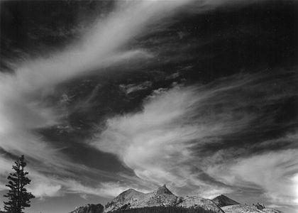 Cirrus Clouds Over Unicorn Peak, Tuolumne Meadows, Yosemite National Park High Country, Sierra Nevada, California.