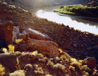Colorado River Bend, Sun Reflection, Talus Slope, Canyonlands National Park, Utah