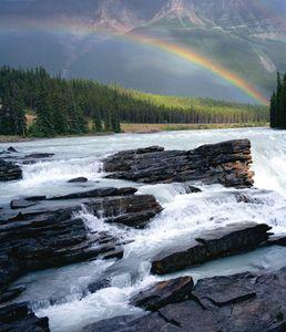Rainbow Over Athabaska Falls, Jasper National Park, Canada
