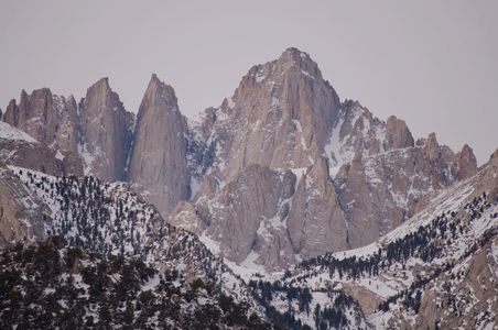 Mount Whitney In Fresh Snow From The Albama Hills Near Lone Pine, Eastern Side Sierra Nevada, California, copyright David Leland Hyde 2009.