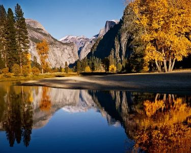 Merced River, Half Dome, Fall Cottonwoods, Yosemite National Park, Sierra Nevada, California