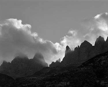 Clouds Forming On Minaret Peaks, Ansel Adams Wilderness, Sierra Nevada, California, 1964.