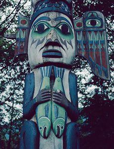 Totem Pole, Totem Bight Near Ketchekan, Alaska.