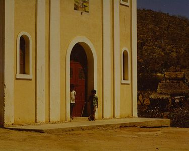 Two Boys, Chapel Facade, Todos Santos, Baja California, Mexico