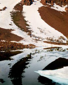 Iceberg With Snow Patches Reflected, Ellery Lake I, Yosemite National Park, Sierra Nevada California