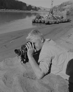 "David Brower Filming With ""The Pirate Ship"" In The Background, Glen Canyon, Utah, 1962"