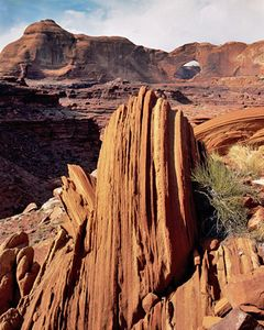 Vertical Strata Formations, Steven's (Skyline) Arch, Sandstone, Near Mouth of Coyote Gulch, Escalante Wilderness, Utah