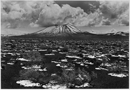 Snow On Cinders And Cinder Cone, Western Nevada
