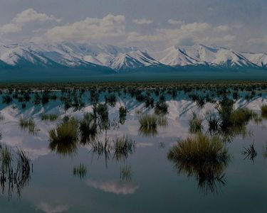 Snowmelt Pond, Snowcapped Peaks Of The Toiyabe Mountain Range, Reese River Valley, Great Basin, Nevada.
