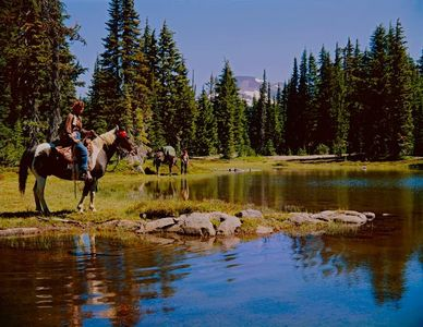 Ardis Hyde, Fred Behm And Horses, Waldo Lake, Oregon Cascades, Oregon, 1959.