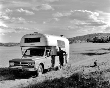 Ardis Hyde, David Leland Hyde And GMC Utility Body Pickup With Avion Camper At The Grand Canyon