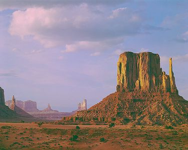 Evening Light on West Mitten Butte, Monument Valley Navajo Tribal Park, Utah-Arizona, 1963.