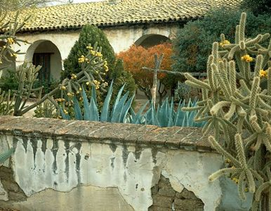 Wall And Gardens, Mission San Miguel Archangel Near Paso Robles, California
