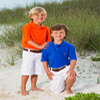 Two boys in photo on  beach