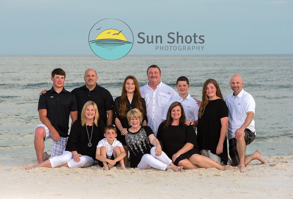 Reunion family photograph on the beach