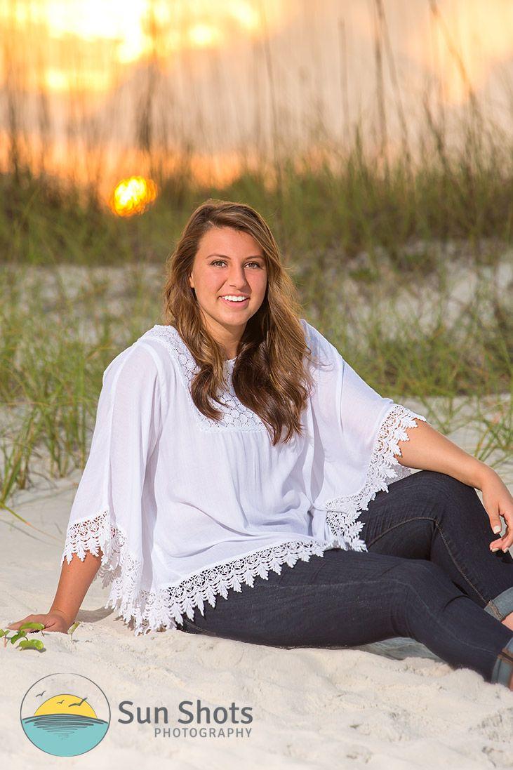 Professional senior portrait at the beach
