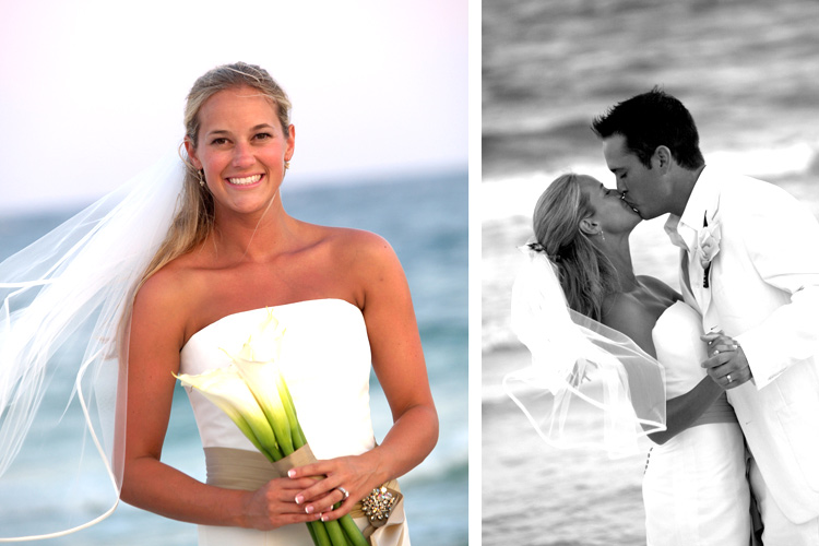 Bridal portraits at a beach wedding