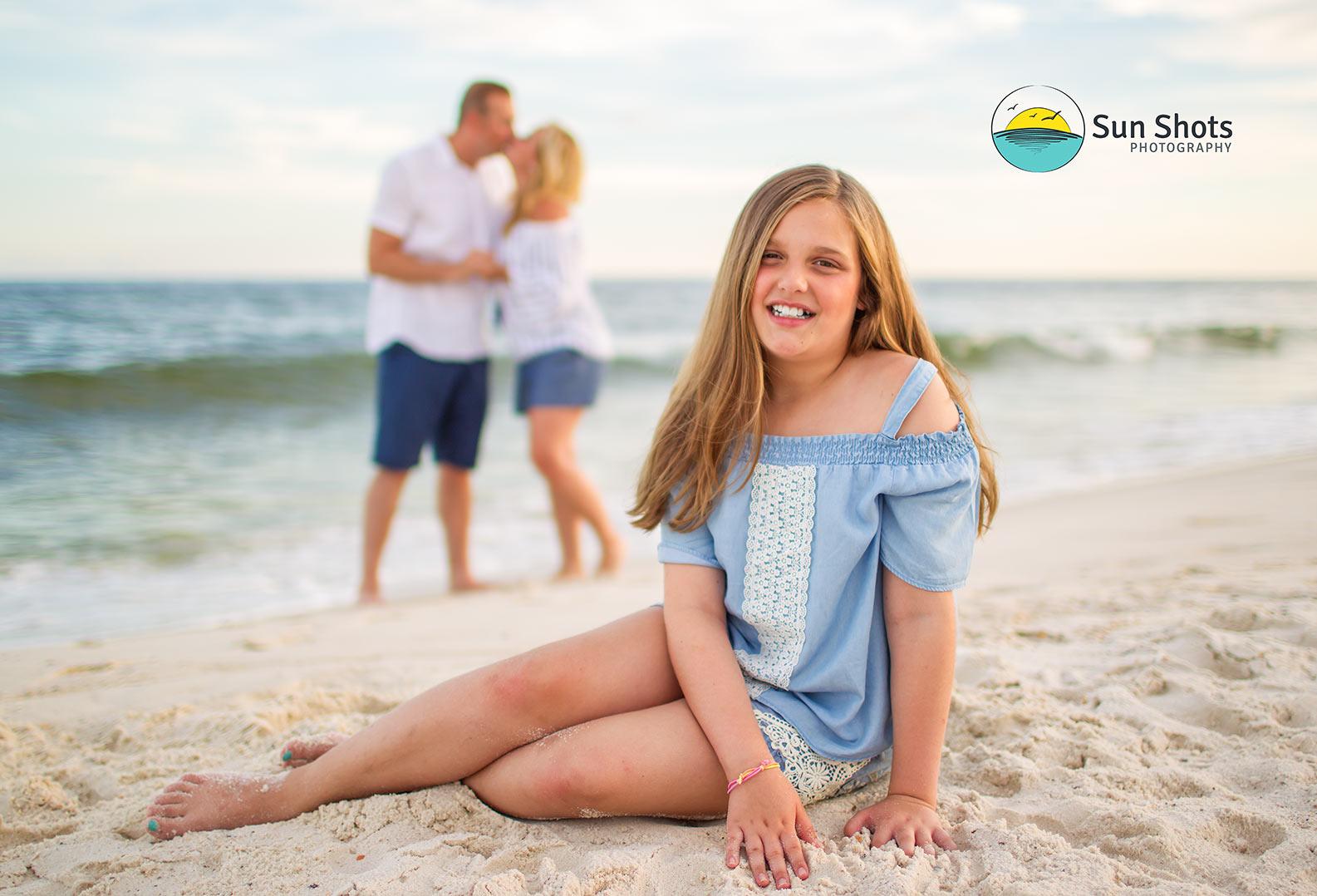 Candid family beach portrait