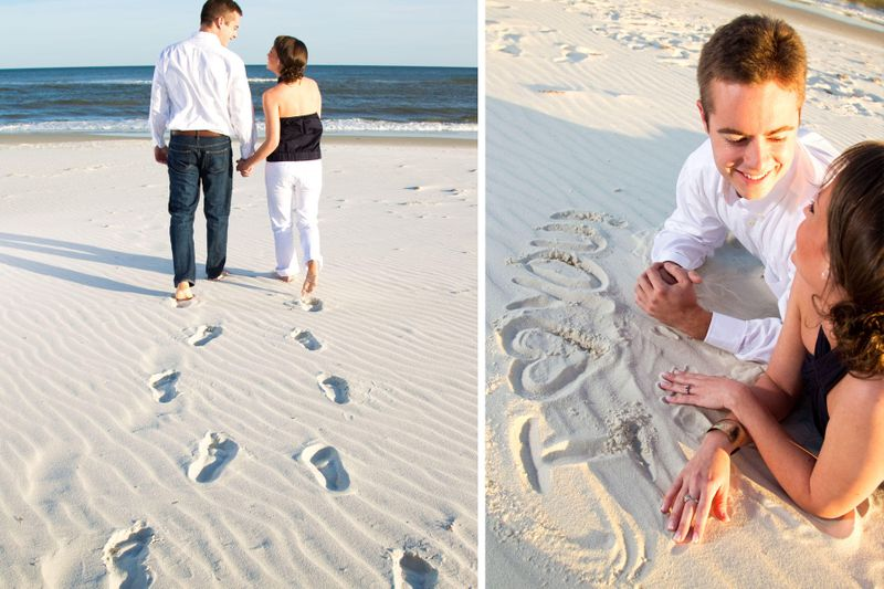 "Couple writing ""I Love You"", in the sand"