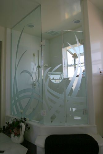 Custom Etched Shower Enclosure for Ed Hackabarth - TACO BELLDana Point, CA