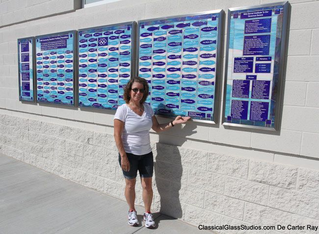 "Donor wall at the Marion Bergeson Aquatics center. Newport Beach CA, and De Carter Ray, ""Thank you for inviting me to be a part of this wonderful project"""