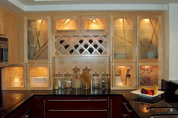 Custom art glass cabinets, Oriental theme in Private ResidenceLong Beach, CA
