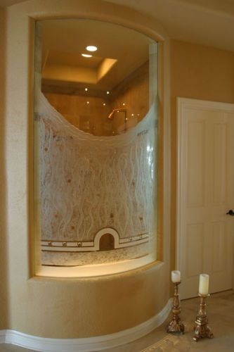 Etched glass Shower wall custom designed by Classical Glass Studios, for Atelierkf Design. Dana Point ,CA