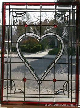 The Heart window, custom stained glass for front door of residence in Huntington Beach CA.