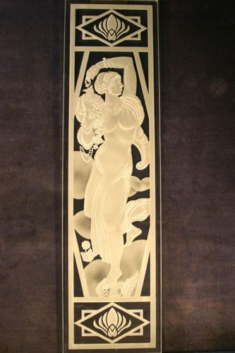 "Art Deco Woman - Private ResidenceDeeply Carved, 1/2"" Crystal"