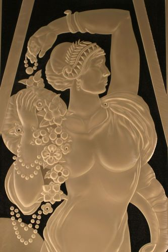 "Art Deco WomanDeeply Carved, 1/2"" Crystal"