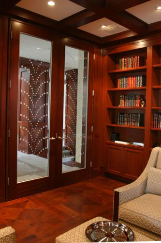 Lowther Residence - Library doorsCarved Art Glass by De Carter, Classical glass studios.