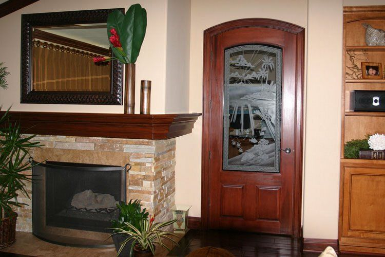 Deep Water Island. Etched art glass door.