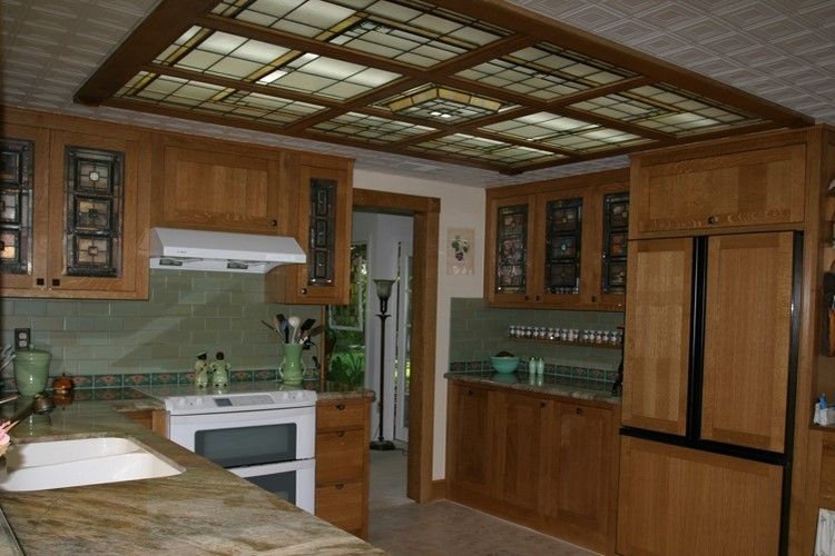 Custom Leaded glass ceiling and kitchen cabinets.Private Residence of Esther Wilson - Laguna Niguel, CA