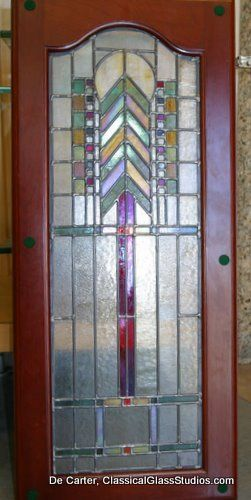 Custom Cabinet door - Bullseye Glass - Stained Leaded