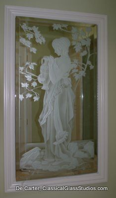 Carved, etched bathroom mirror for Carol McMahon interior design, Newport Beach CA