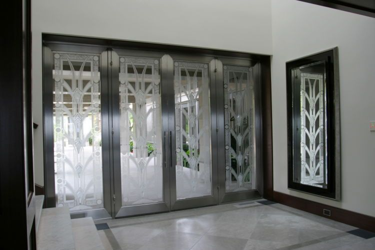 Art Deco carved glass doors, by Classical Glass Studios for the Lowther Residence, Laguna Niguel CA, Carol McMahon Interior Design, Chris Light Architect, The Richard Crawford Company, General Contractor