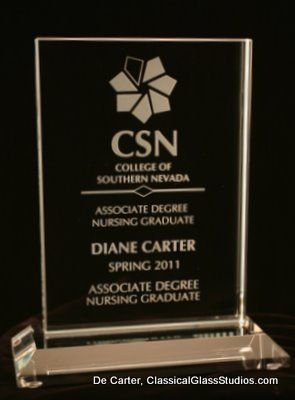 Achievement recognition piece - etched in Crystal glass .