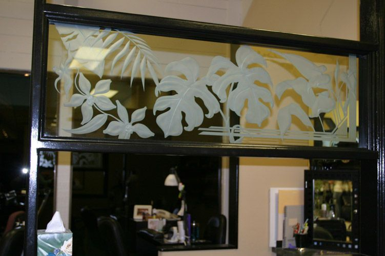 Class Act Salon - Carved glass dividers for work stations