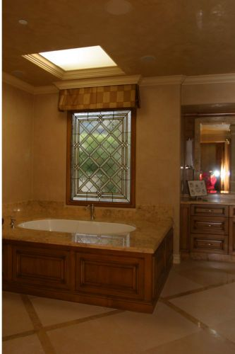 Custom leaded glass window, Busk ResidenceNewport Coast CA, Master Bath