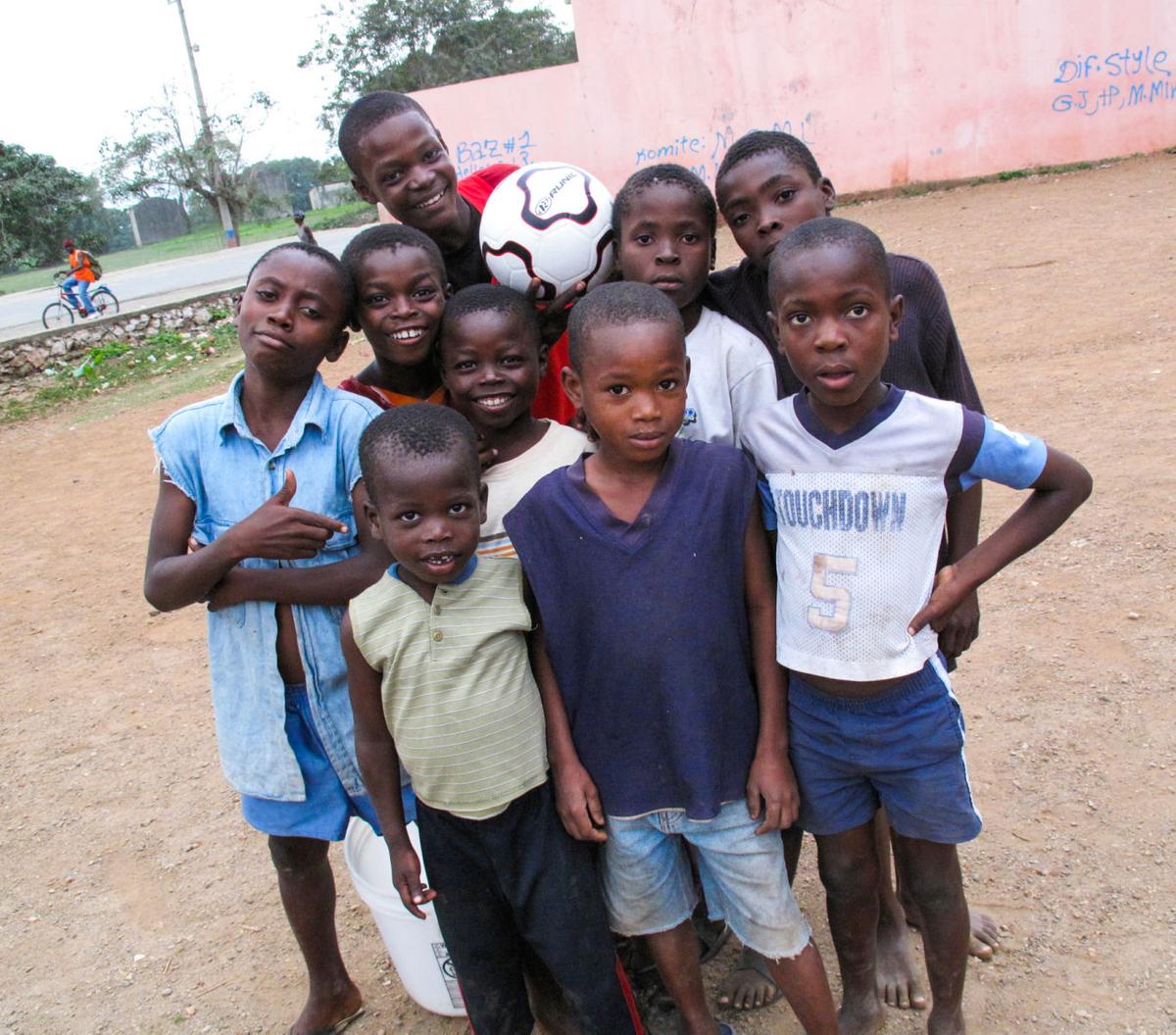 Haitian soccer kids