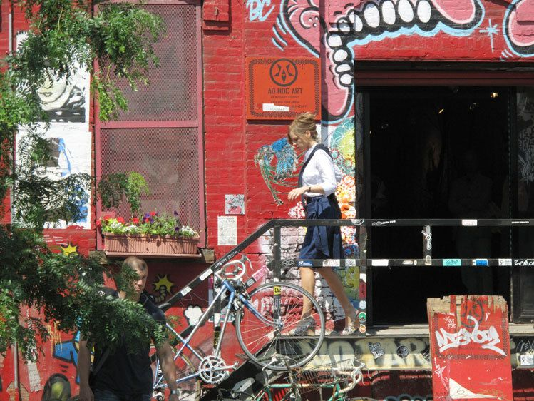 Hillary Swank on the set at Ad-Hoc gallery on Bogart St.