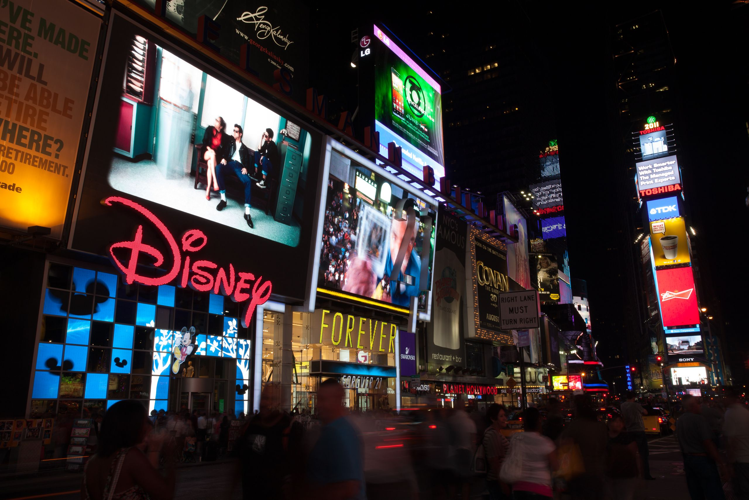 Tourists crowd Times Square