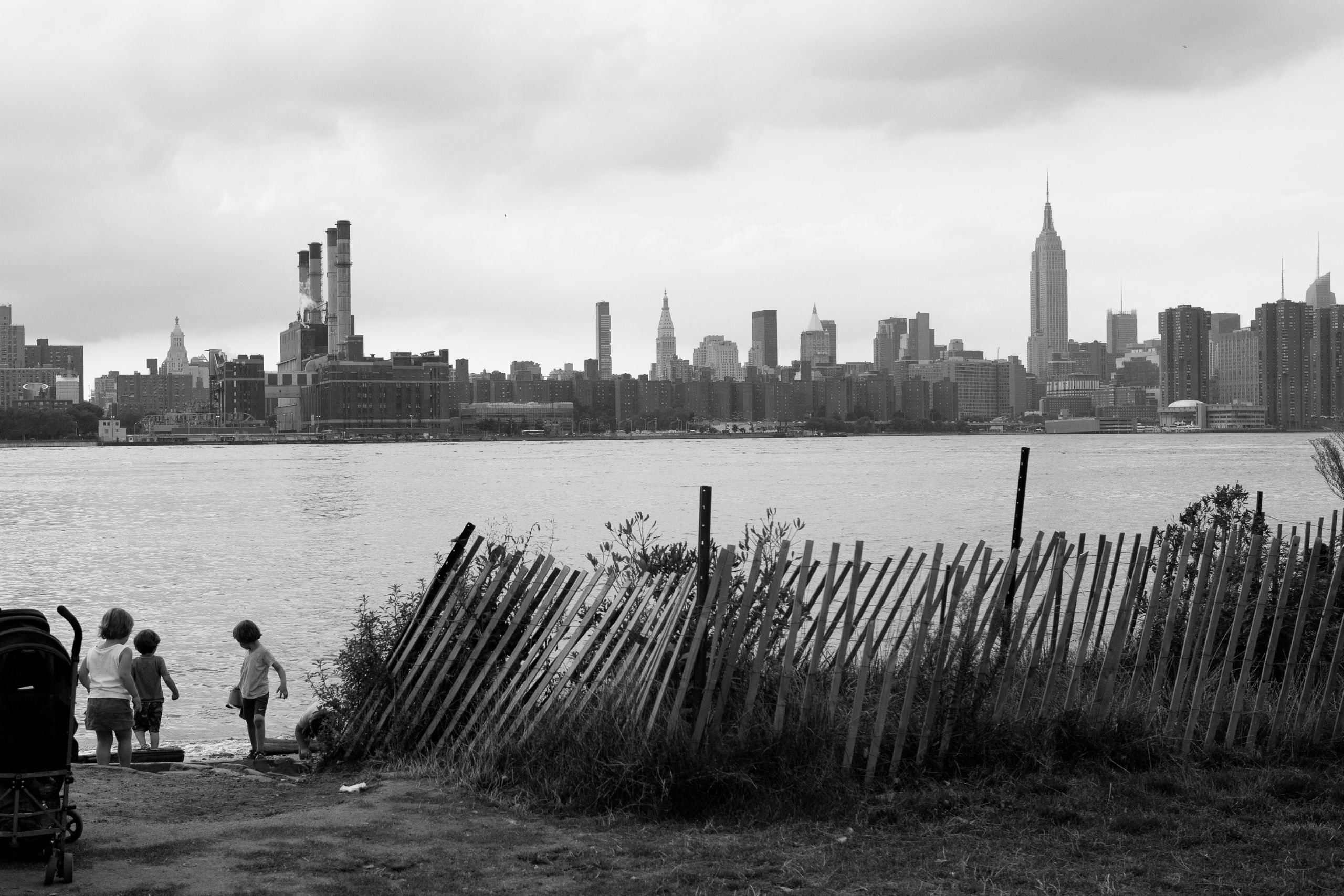 Children play on the beach at East River State Park