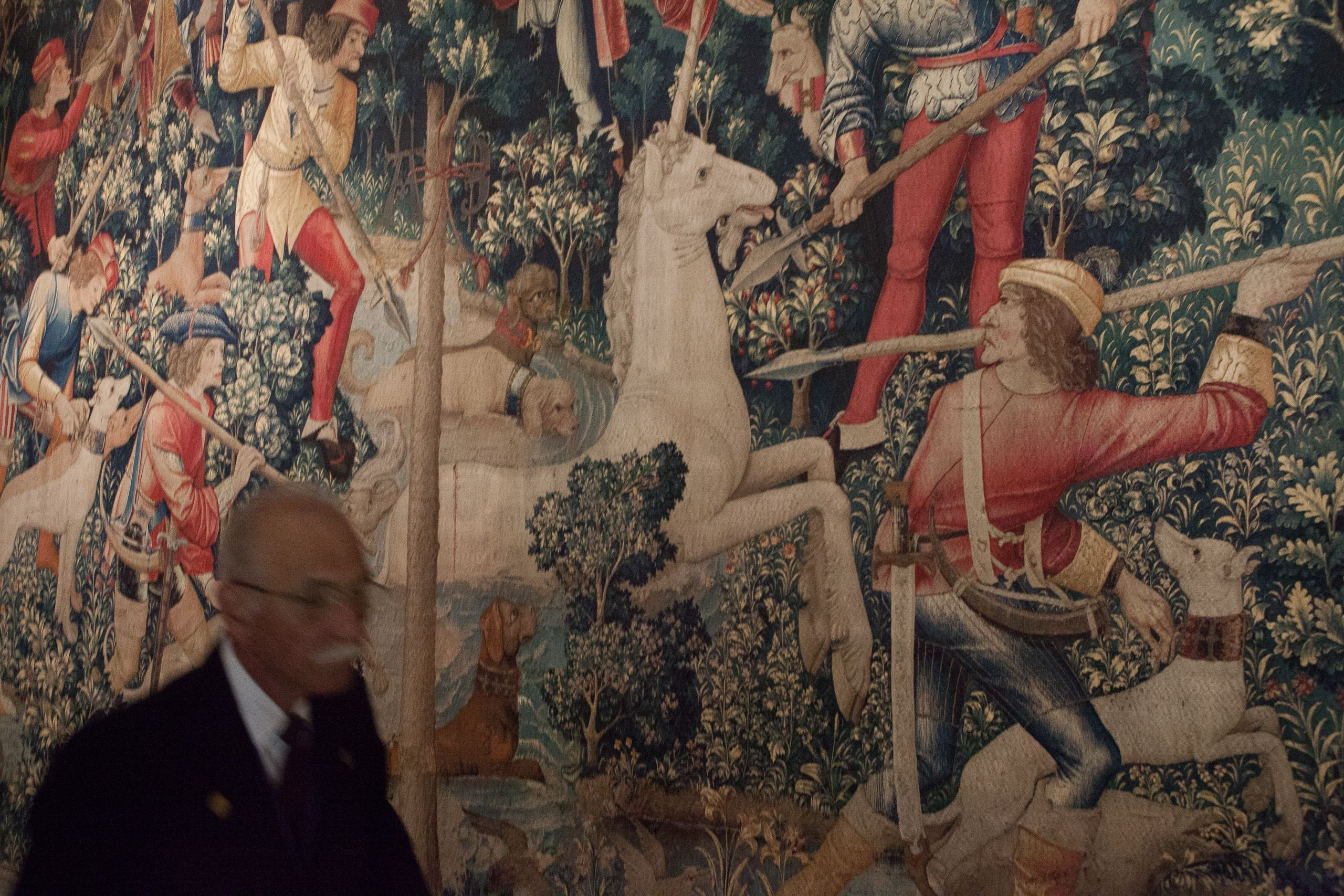 Cloisters Museum docent and unicorn tapestry