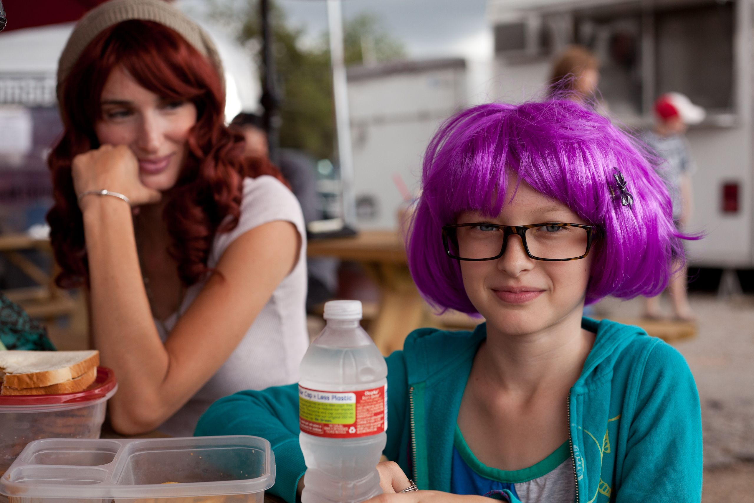 Girl With Purple Wig and Glasses