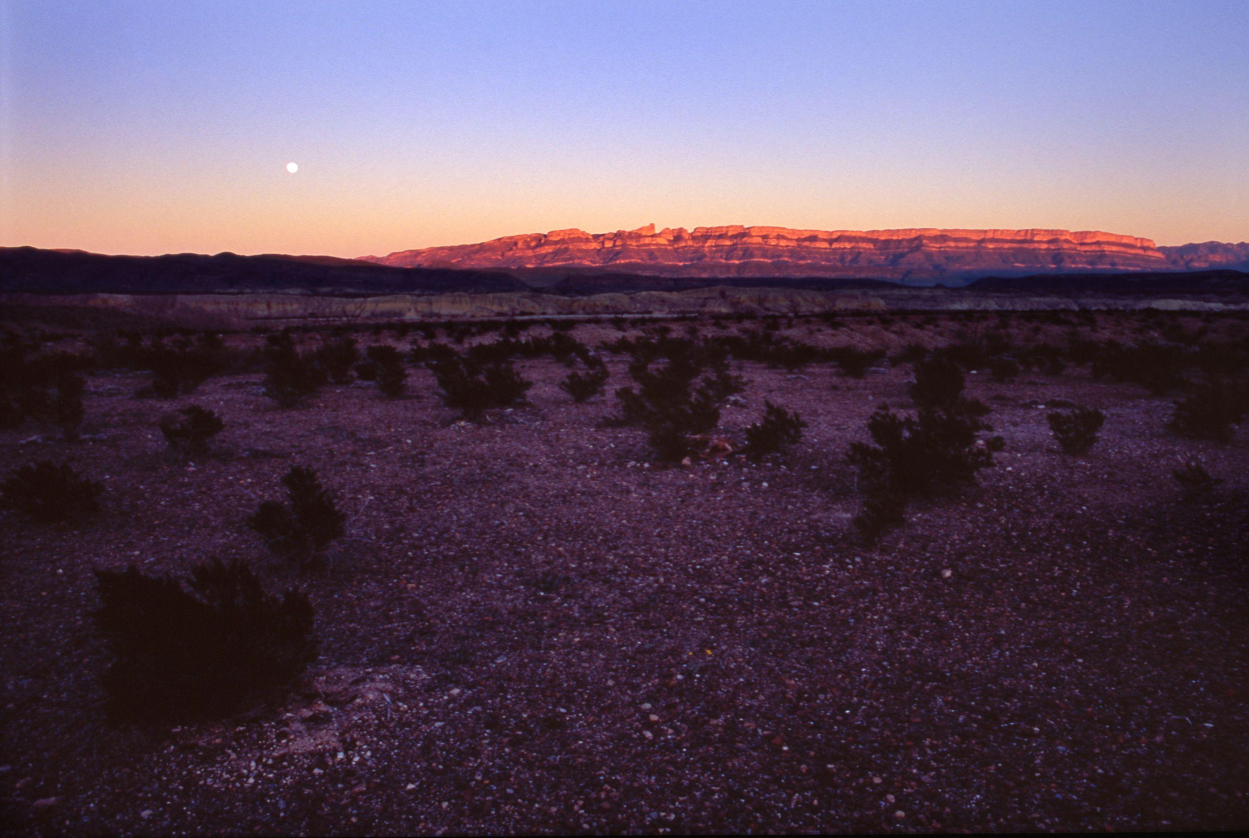 Mesa at Sunset With Moon